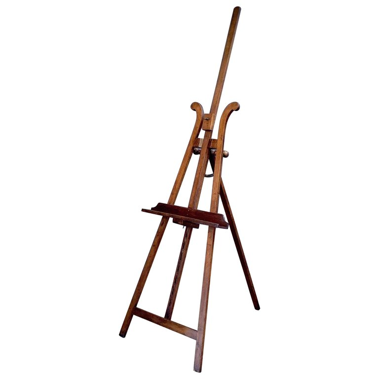 French Artist's Gallery Display or Studio Easel of Mahogany