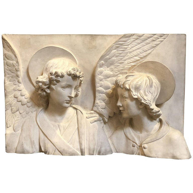 Italian Bas-Relief Terracotta Plaque of Angel and Saint by ...
