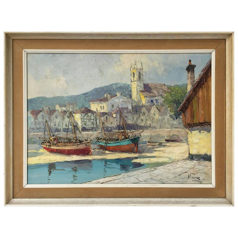 French Framed Oil Painting On Canvas Of A Harbor Scene