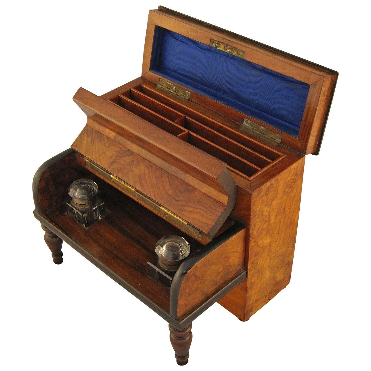 English Desk Set with Inkwells and Stationery Box - English Desk Set With Inkwells And Stationery Box - The Antique Swan