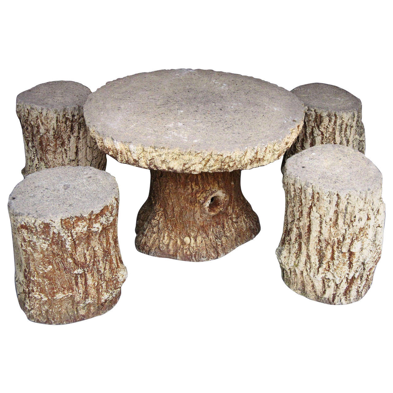 Pleasing Faux Bois Garden Stone Set Table And Four Stools The Camellatalisay Diy Chair Ideas Camellatalisaycom