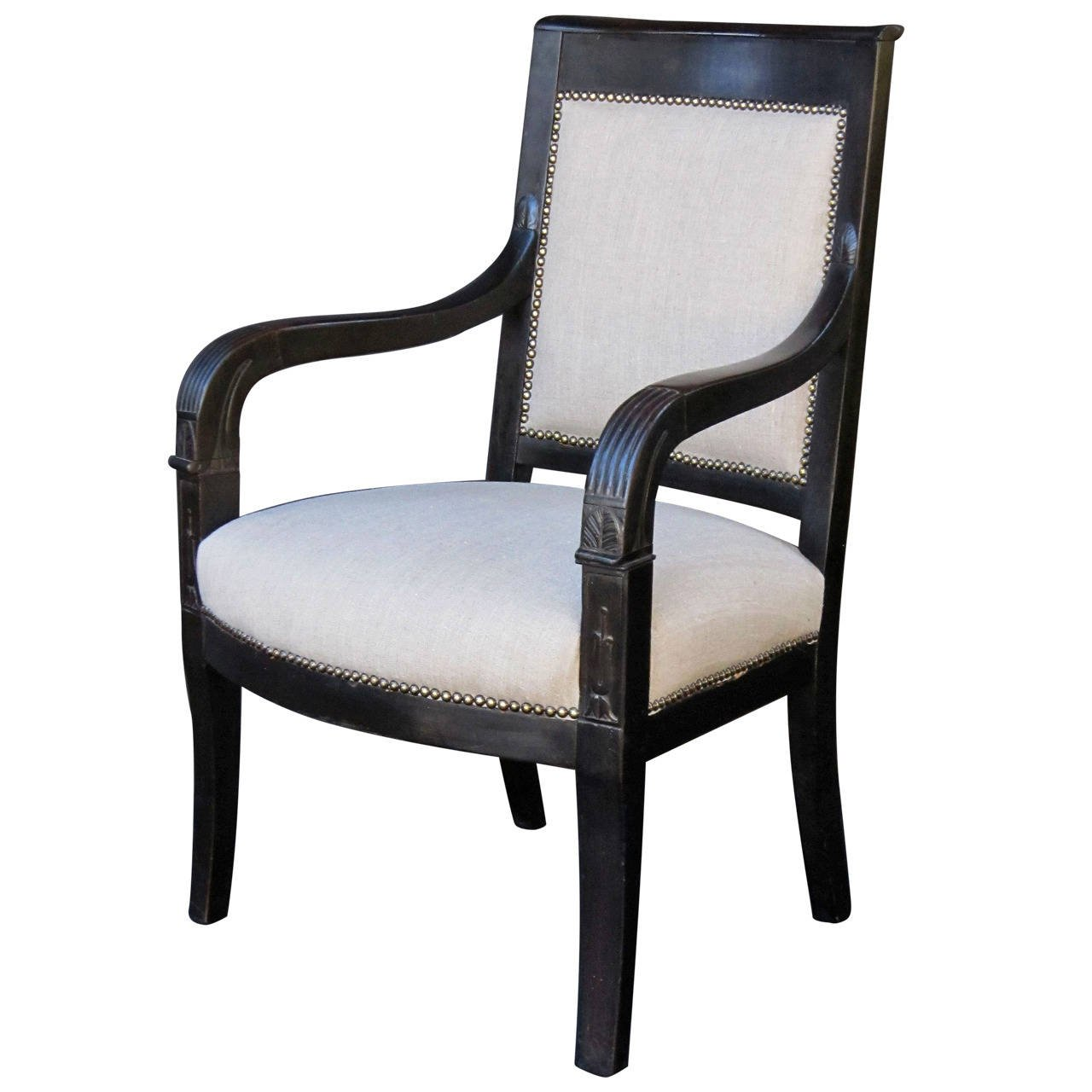 French Ebonized Armchair With Upholstered Seat