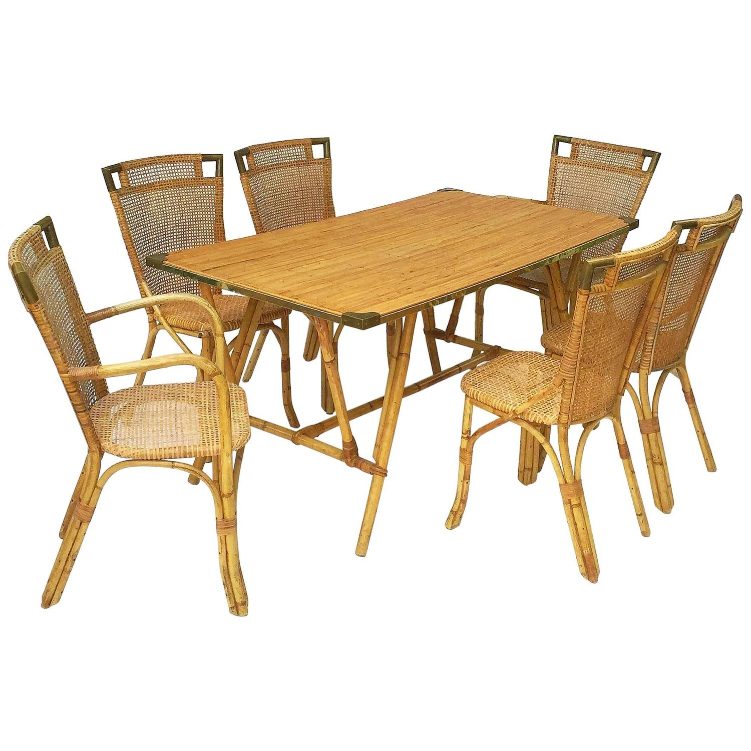 French Bamboo Table and Chairs Set (Louis Sognot) - The Antique Swan