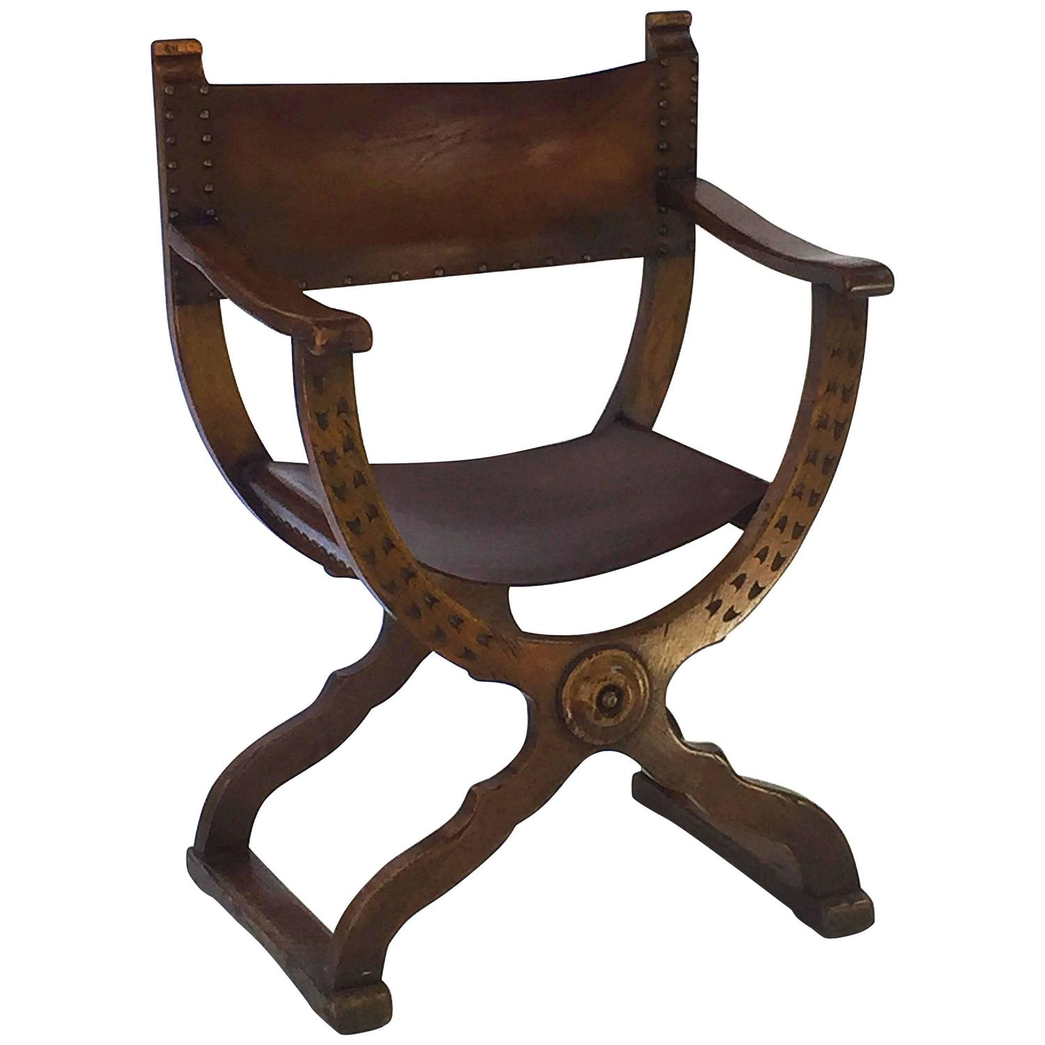 French Savonarola Armchair With Leather Back And Seat
