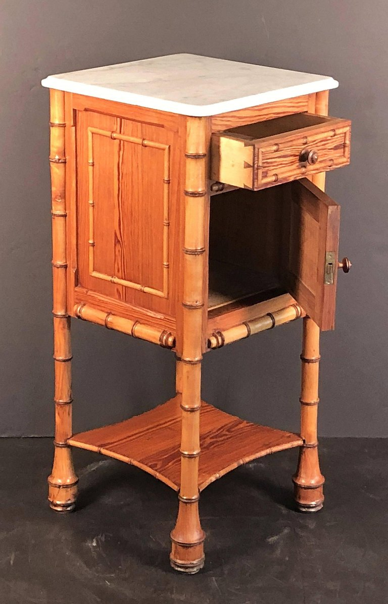 Old Bedside Table: Faux Bamboo Nightstand Or Bedside Table